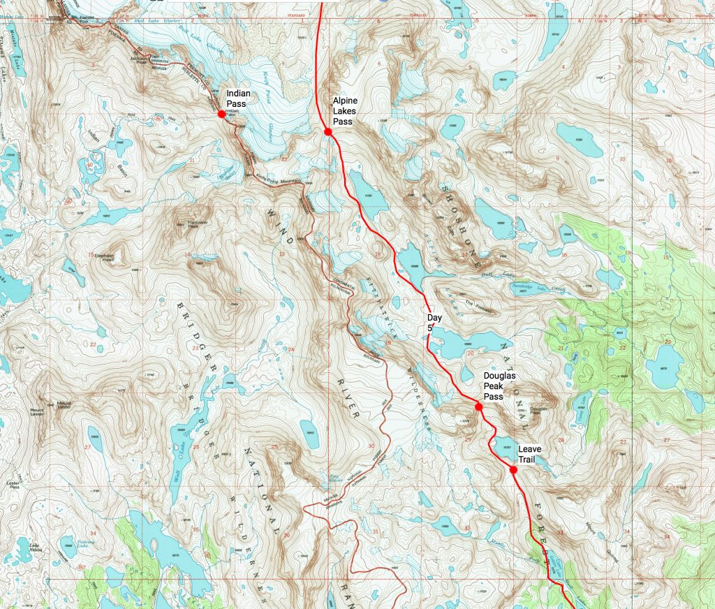 Wind River High Route Day 5 Map